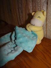 Carters child of Mine blue minky dot Lovey Blanket held by giraffe plush Euc