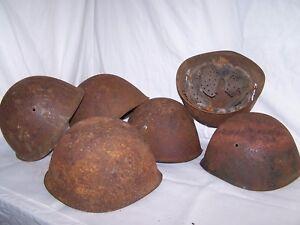 Battlefield Pickups: Italian M33 helmet shells. 3 in each lot. Variations.
