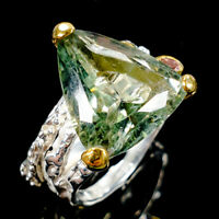 Discount jewelry Natural Green Amethyst 925 Sterling Silver Ring Size 8/R110189
