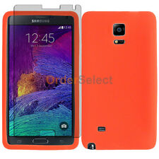 Soft Rubber Gel Case+LCD Screen Protector for Phone Samsung Galaxy Note 4 Orange