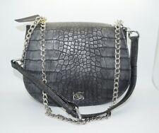 BEBE Gunmetal Dark Grey Snakeskin Embossed Crossbody Saddle Bag Purse