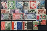 G128520 / MONACO / Y&T # 383 / 411 COMPLETE YEARS 1953 / 1954 MH* / MNH * CV 120