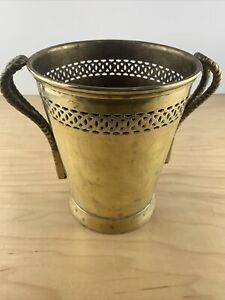 Vintage Heavy Pierced Brass Bucket Vase Planter Wine Chiller  Rope Tassel Handle