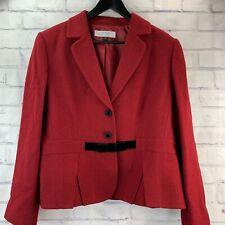 Tahari Arthur S.Levine 2-Piece Red Wool Blend Skirt Suit Size 14 Retail $280 NWT