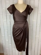 Pinup Couture Ava Chocolate Brown XS Faux Wrap Retro Vintage Style READ