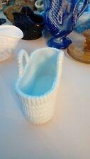 Striking Sowerby Blue Slag Glass Basket Great Condition