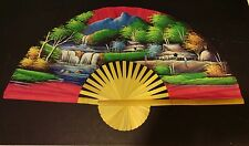 """Large 40"""" Silk Bamboo Fan Hand Painted"""