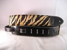 LEATHER BLACK  WITH TIGER PRINT FUR BASS, ACOUSTIC GUITAR STRAP