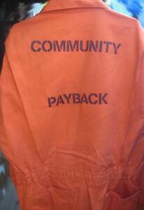 COMMUNITY PAYBACK MISFITS Jail Inmate Orange Jumpsuit Costume Prison Detention