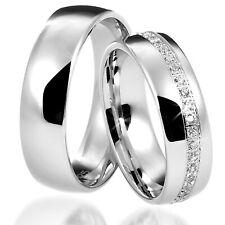 2 Trauringe 925 Silber GRAVUR Eheringe Verlobungsringe Partnerringe D8410 vj