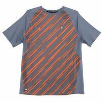 Fila Sport Athletic Tru Dry Tee Shirt Mens Sz XL Gray Orange Stripe Short Sleeve