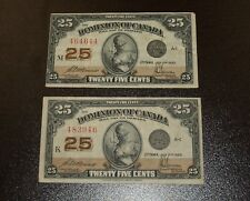 Two Nice 1923 Dominion of Canada 25 Cents Notes - McCAVERS-SAUNDERS