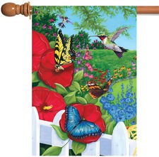 New Toland - Garden Frenzy - Colorful Bird Flower Butterfly Spring House Flag