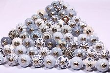 24 Grey & white Ceramic Door Knobs Hand Painted Kitchen Cabinet Drawer Knobs