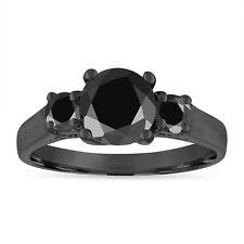 Enhanced Black Diamond Engagement Ring, 14K Black Gold 2.10 Carat Certified