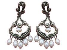 Judith Jack Chandelier Pierced Earrings Sterling Silver Pearl Marcasite 472g