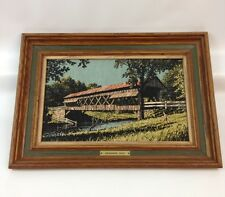 "Vintage Kay Dee Framed Prints 100% Pure Linen Covered Bridge ""Swimming Hole"""