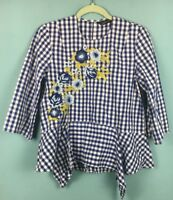Zara Blue White Gingham Check Floral Embroidered Beaded Frill Blouse S - B57