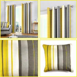 Ochre Eyelet Curtains Yellow Mustard Whitworth Stripe Lined Ring Top Pairs