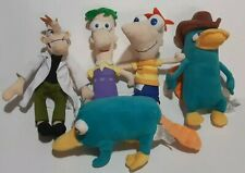 Disney Phineas and Ferb Lot Of 5 Bean Bag Plush Figures