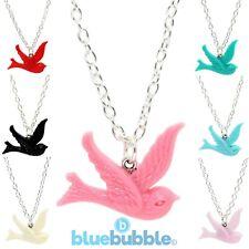 Bluebubble FREE BIRD Swallow Necklace Cute Kitsch Peace Love Fun Festival Animal