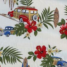 Hawaiian Woody Surf Board Cream Quilt Sew Fabric TRENDTEX