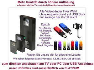6 Bänder Hi8 Video8 Minidv VHS-C digitalisieren im mp4 Format auf USB Stick inkl