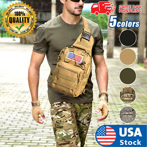 USA Men Backpack Tactical Sling Chest Bag Assault Pack Messenger Shoulder Bag