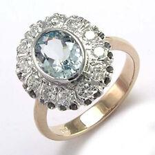 14k White Gold Genuine Aquamarine & Diamond Russian Style Ring #R1712