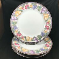 "Set of 4 American Atelier 10-1/2"" Fruit n Flowers Dinner Plates"