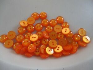 LOT OF 50 ORANGE PEARL COLOR 3/8 INCH 2 HOLE BUTTONS, NEW