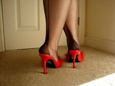 NEW GIO FF Fully Fashioned Point Heel Seamed Stockings in Barely Black 9 S Small