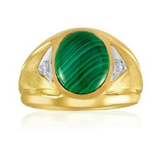 Natural Malachite Gemstone with Gold Plated 925 Sterling Silver Men's Ring #1034