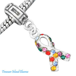 Autism Awareness Crystal Ribbon 925 Solid Sterling Silver European Bead Charm