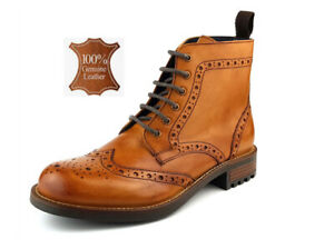 Mens 100% Leather Brogue Lace-Up Smart Casual Ankle Boots Tan 6 x 12 FJ Camden