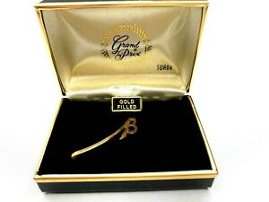 Vintage Swank Tie Bar Yellow 12K Gold Filled Initial Letter 'B' In Original Box