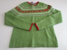 Old Navy Womens sz S/M 100% Lambswool LS Sweater Green Red Fair Isle Christmas