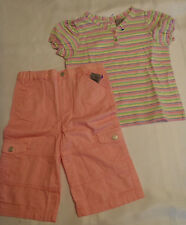 5T Arizona Adjustable Waist Pink Capri Okie Dokie Short Sleeve Shirt Outfit NWT