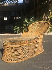 Vintage Retro Cane Chaise Lounge Chair