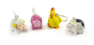 FARM ANIMALS SQUEEZE POO KEYRING - SV14664 STRESS CUTE SHEEP CHICKEN COW PIG