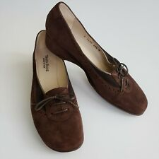Taryn Rose Womens Suede Brown Oxfords Lace Up Flat Modest Size 8.5 Vintage Vibe