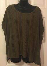 Denim Supply Ralph Lauren Large L Olive Open Knit Pullover Sweater Poncho Style