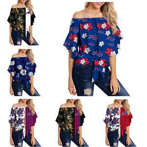 Buffalo Bills Women's Off Shoulder Blouse Top Ladies Summer Casual Sexy T Shirt