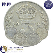 More details for set of world war one 1914 to 1918 silver threepences 3d