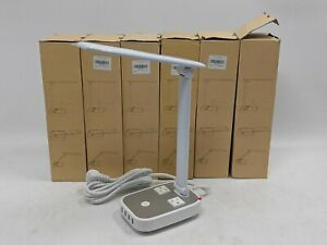 LED Desk Lamp w/ 4 USB Ports and 2 AC Outlets - White - Lot of 6 -NR5260