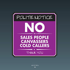 SKU094 - No Cold Callers Canvassers Sales Front Door Sign Sticker - 140 x 140mm