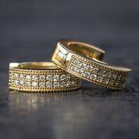 Mini 14k Gold High Quality Lab Diamond Hoop Earrings