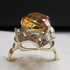 VINTAGE HANDMADE 14K YELLOW GOLD RING SIZE 7.5 WITH CITRINE STONE