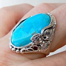 #R579Grande  Bague Argent Massif Stylée Art Nouveau Turquoise  t54
