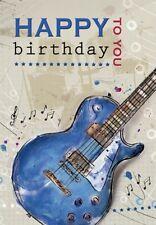 Guitar Birthday Greeting Card - Blue Bass Guitar - 7 x 5 Inches